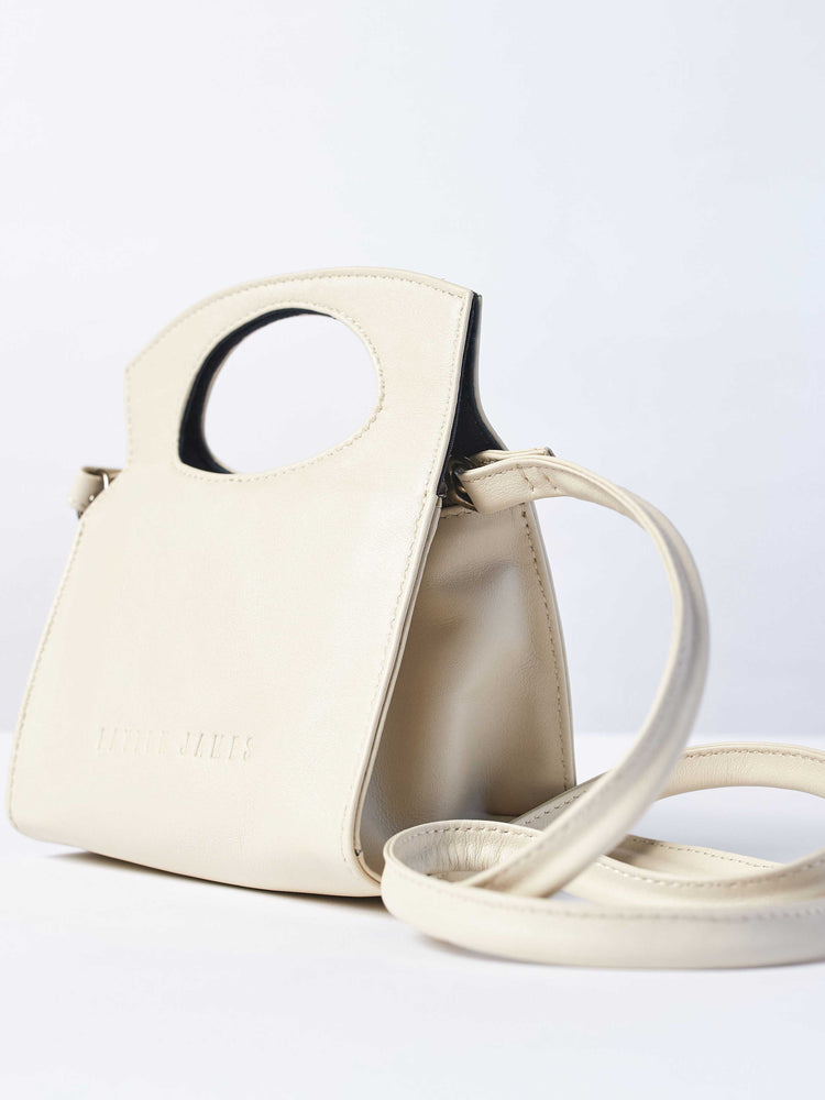 Leather- Crossbody Handbag- Pearl White Color-by-PaytonJames-Nashville-designer.