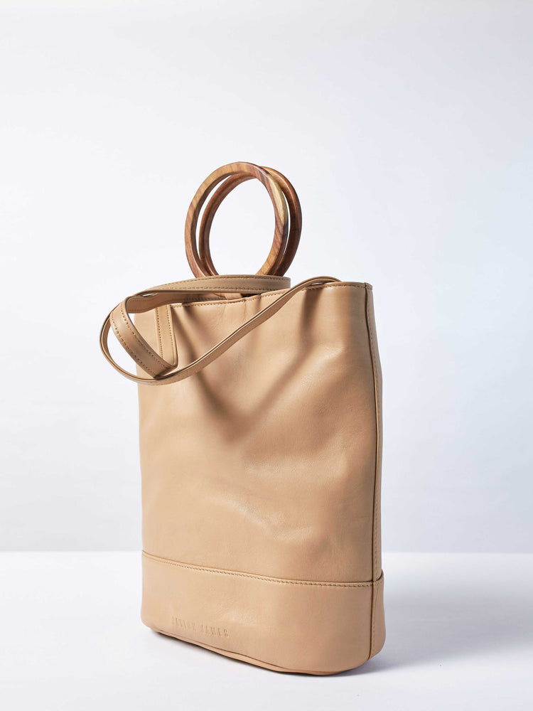 Leather-Tote and Crossbody-Handbag-Cappucino-Bag-by-PaytonJames-Nashville-designer closeup of tied strap