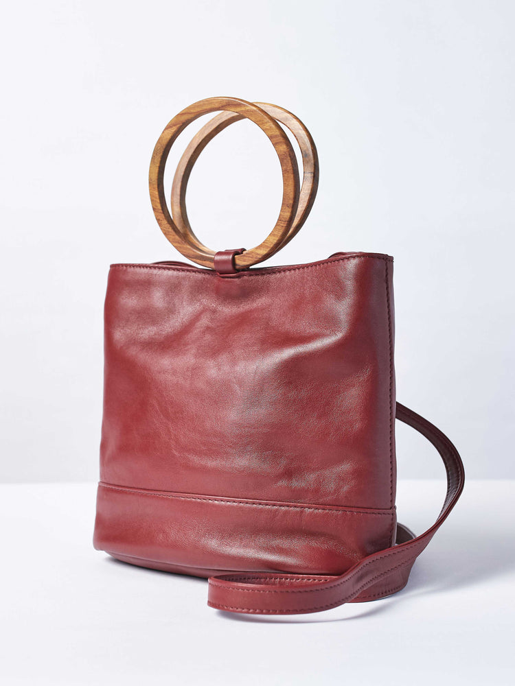 Mini Wood Bucket Tote- Cabernet