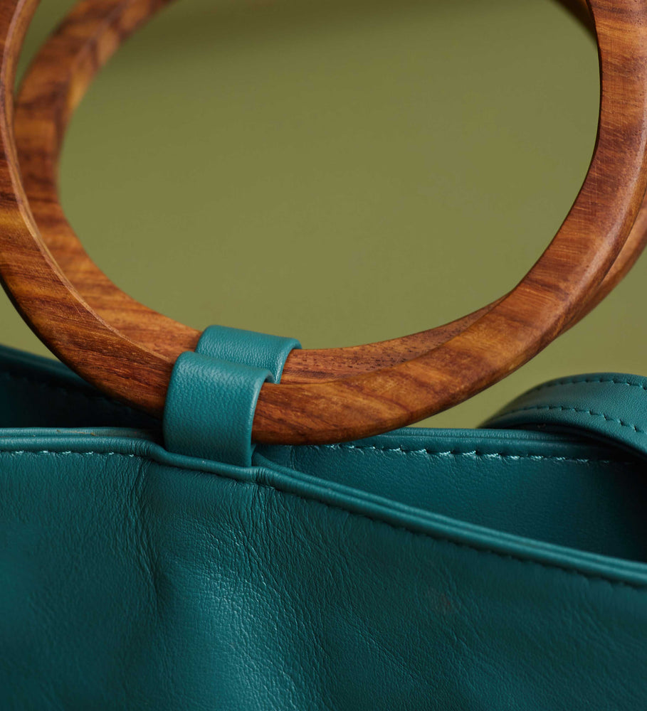 Leather Tote and Crossbody Emerald Mini Wood Tote by Payton James: Nashville Handbag Designer closeup of handle