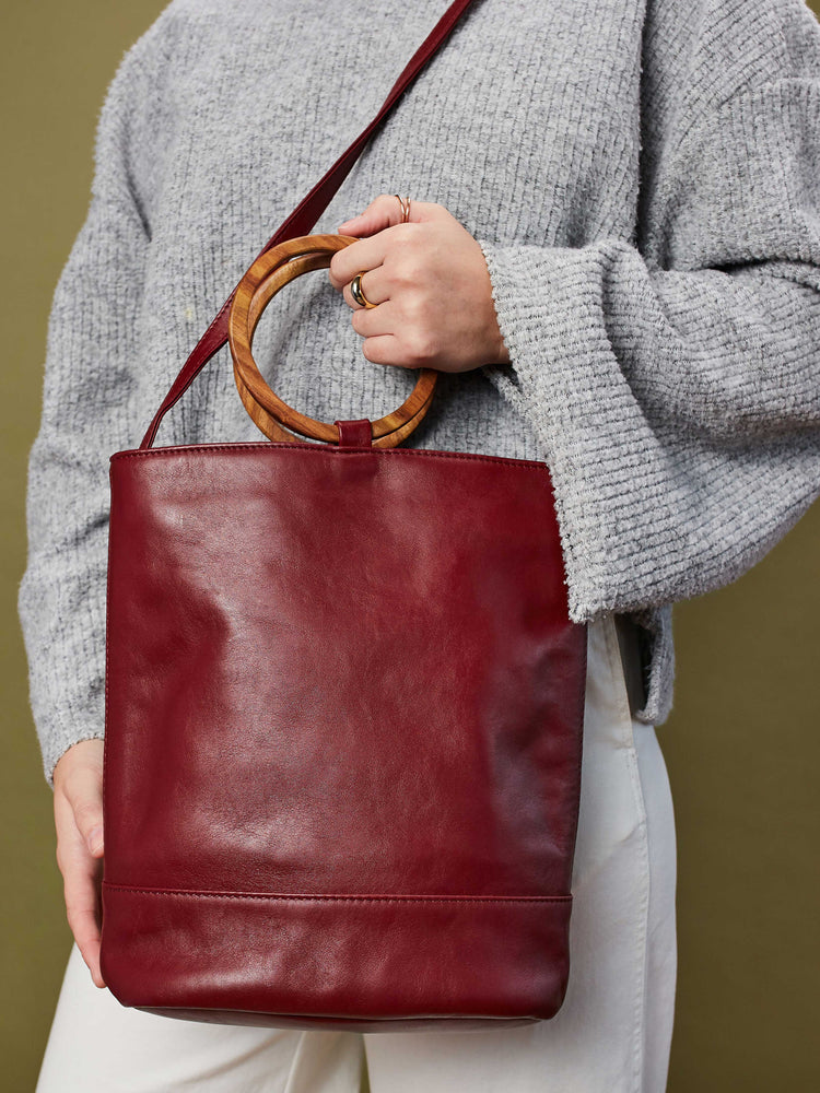 Leather Tote and Crossbody Cabernet Wood Tote by Payton James: Nashville Handbag Designer