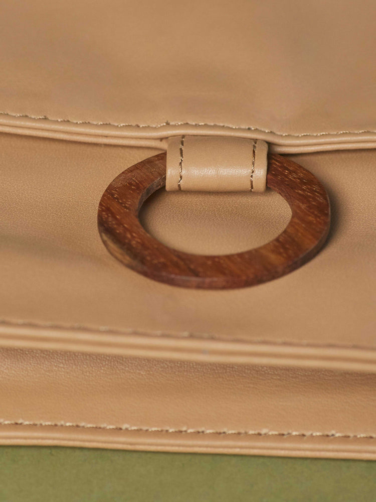 Leather-wallet crossbody bag - Wood Wallet Crossbody cappuccino color handbags by payton james Nashville leather handbag designer closeup of wood ring