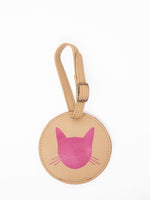 Cat Luggage Tags-Pink Leather luggage tags by payton james