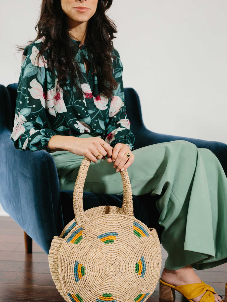 Straw Bag-Raffia Round Circle Bag worn by model  by Payton James Nashville Handbag designer