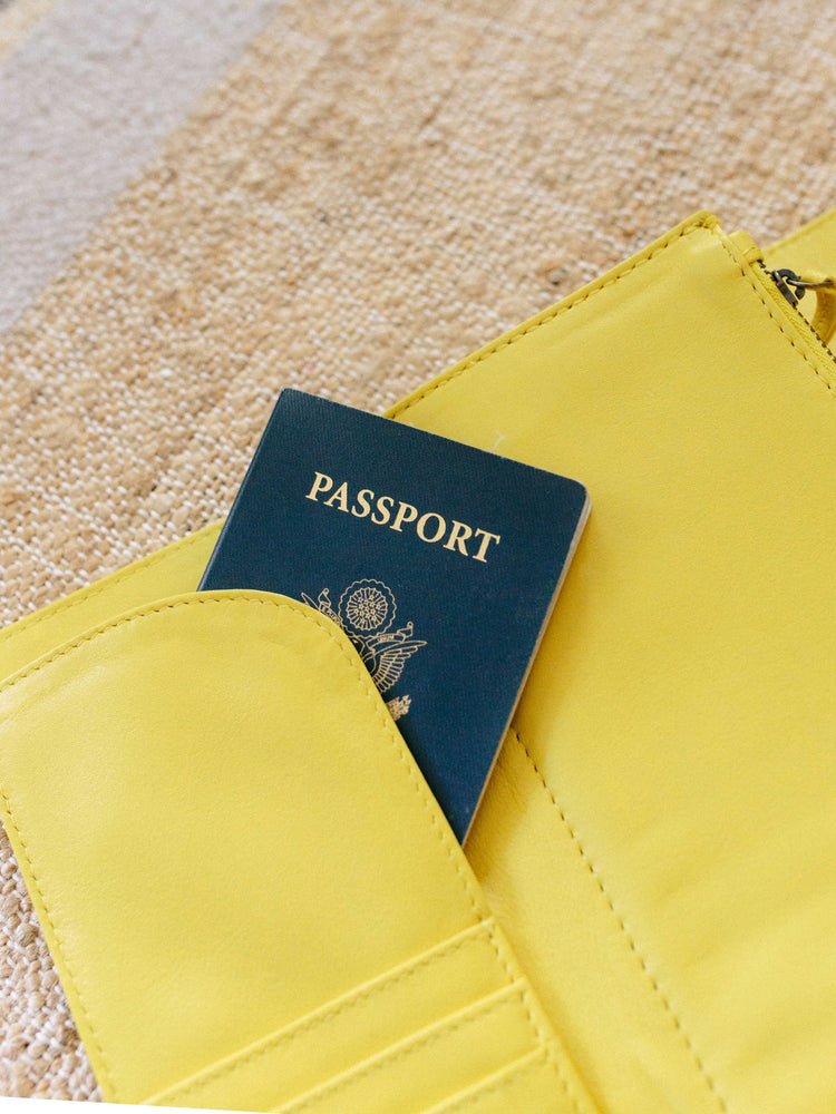 Travel wallet yellow passport wallet payton James