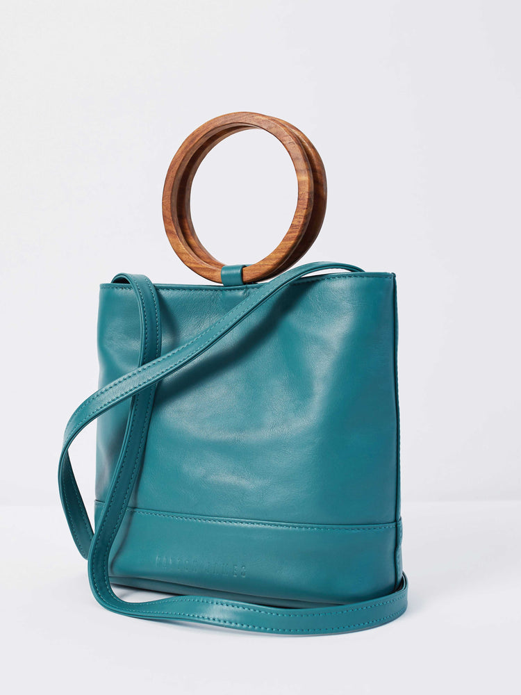 Leather Tote and Crossbody Emerald Mini Wood Tote by Payton James: Nashville Handbag Designer