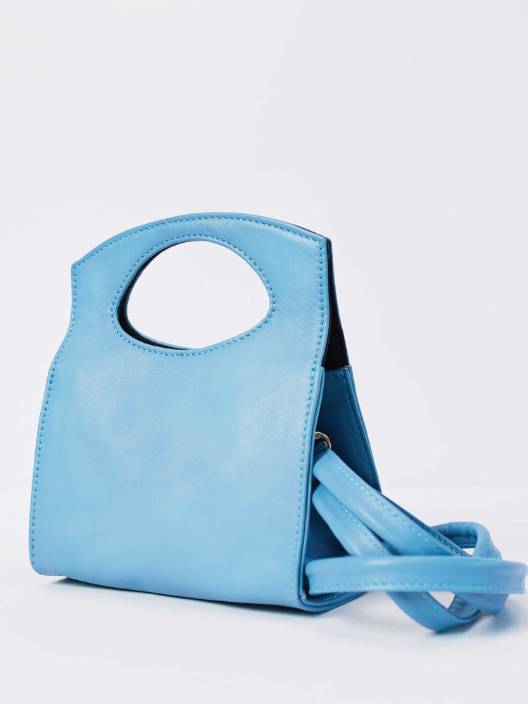 Leather- Crossbody Handbag- Vintage Blue Mini Party Crossbody bag-by-PaytonJames-Nashville-designer.