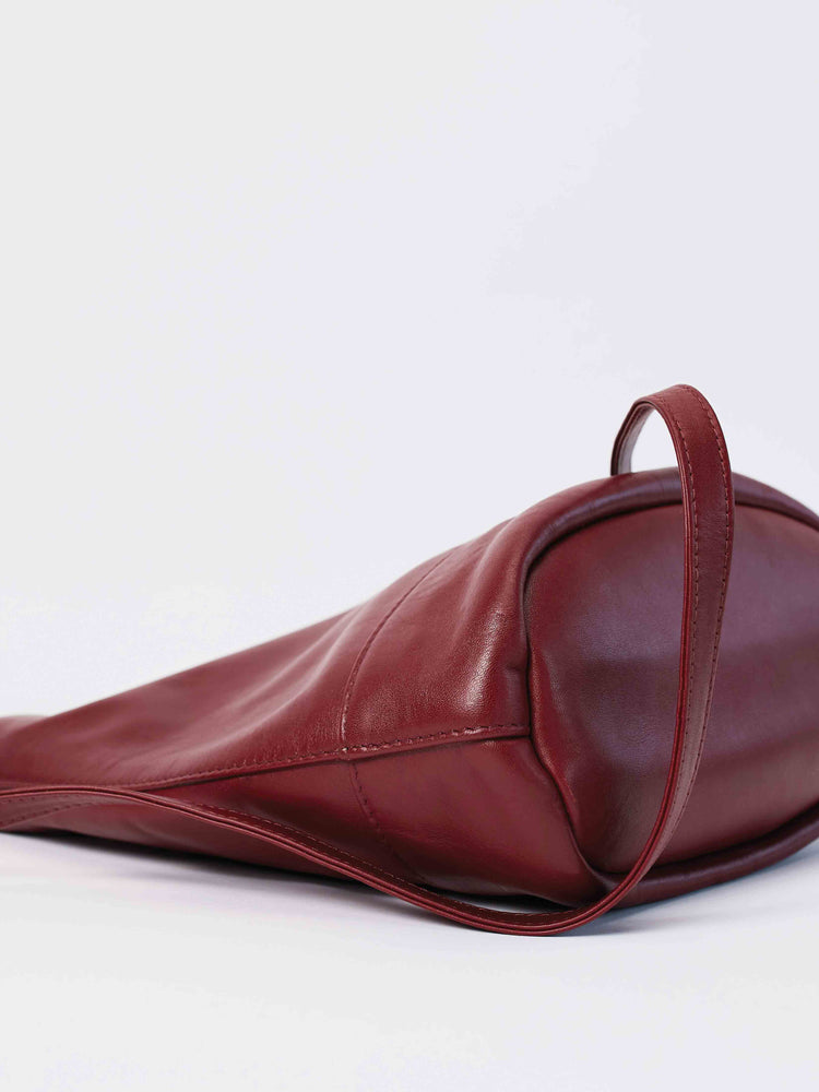 Leather Tote and Crossbody Cabernet Wood Tote by Payton James: Nashville Handbag Designer side view of bag