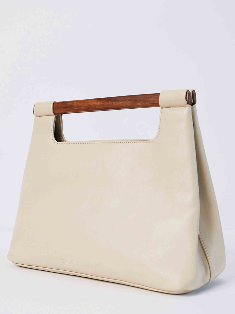 Italian Leather Tote Handbag- White Wood cut out Tote Handbag by Payton James