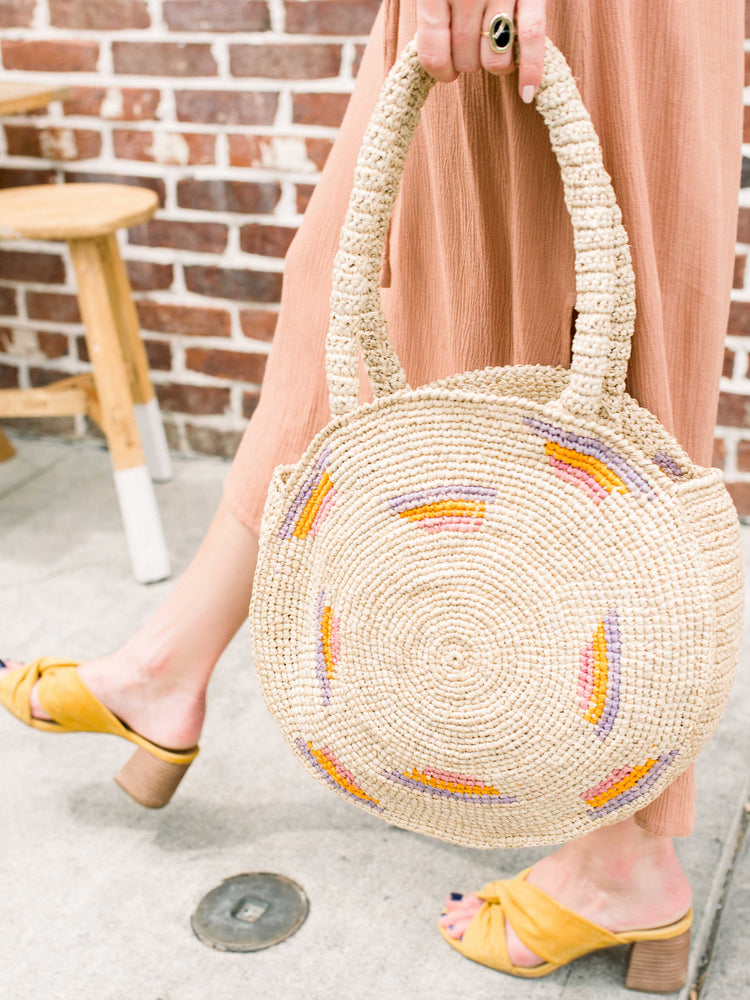 Straw Bag-Raffia Round Circle Bag by Payton James Nashville Handbag designer