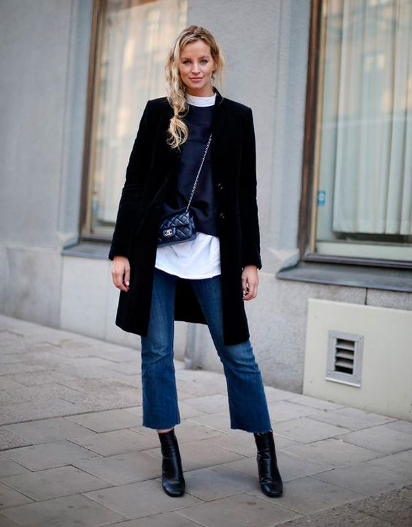 culutte jeans winter outfit with boots