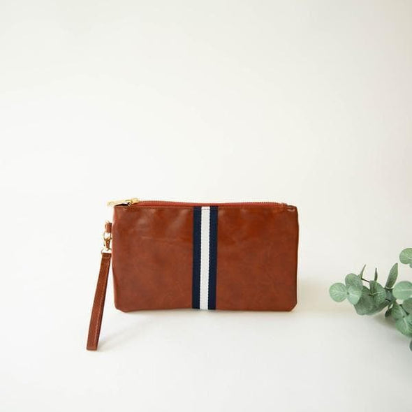 Stripe Faux Leather Wristlet Navy and Cream