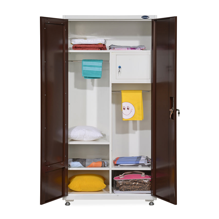 Nilkamal Alaska 2 Door Mirror Wardrobe (Brown/White)