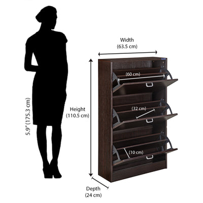 Nilkamal Alester Shoe Rack (Black/Walnut)