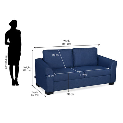 Nilkamal Array 3 Seater Mike Arm Sofa (Blue)