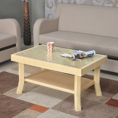 Nilkamal Center Table 1 Cane & Glass (Marble Beige)
