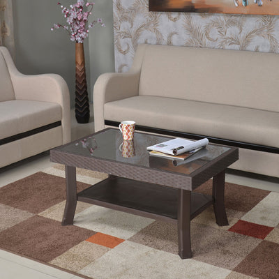 Nilkamal Center Table 1 Cane & Glass (Weather Brown)