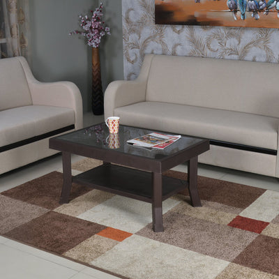 Nilkamal Center Table 2 Carv & Glass (Weather Brown)