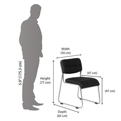 Nilkamal Contract 02 Without Arm Visitor Chair (Black)