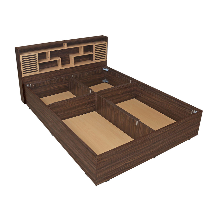 Nilkamal Czar 2 Queen Bed Box Storage (Beech/Walnut)
