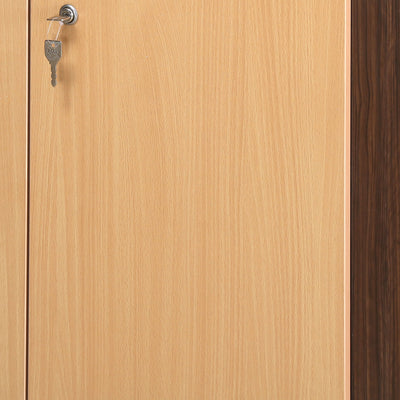 Nilkamal Czar 3 Door Mirror Wardrobe (Beech/Walnut)