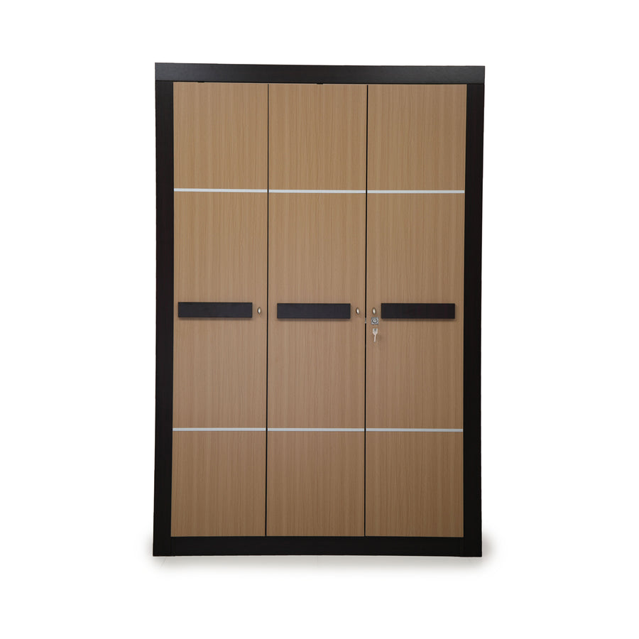 Nilkamal Cedar 3 Door Wardrobe Teak/Walnut