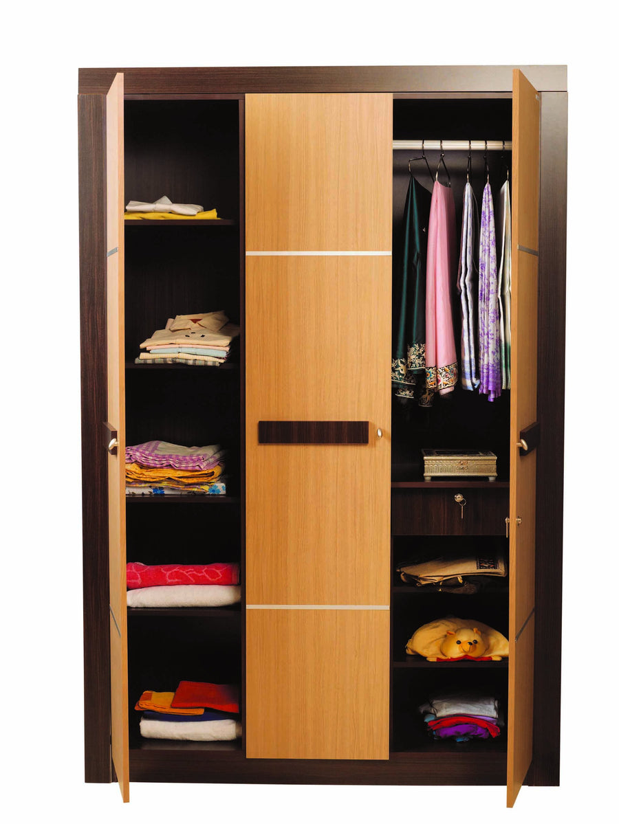 Nilkamal Cedar 3 Door Wardrobe - Teak/Walnut