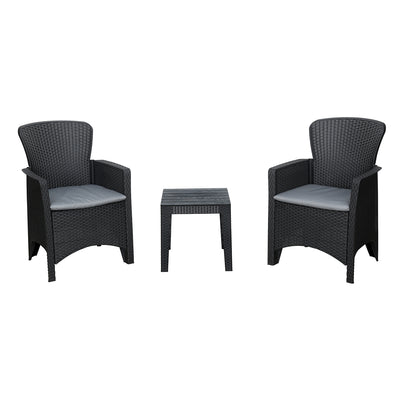 Nilkamal Divine set of 2 Chairs with Coffee Table (Black)