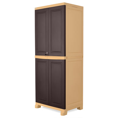 Nilkamal Freedom Big 1 (FB1) Plastic Storage Cabinet - Weathered Brown and Biscuit