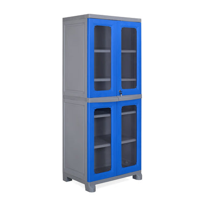 Nilkamal Freedom Big 3 (FB 3) Plastic Storage Cabinet (Deep Blue & Grey)