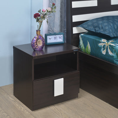 Nilkamal Gella Side Table (Dark Brown/Cream)