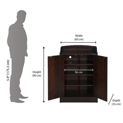 Nilkamal Alpine Shoe Cabinet/Rack (Walnut)