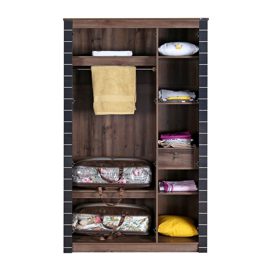 Nilkamal Iconic 3 Door Mirror Wardrobe (Oak)