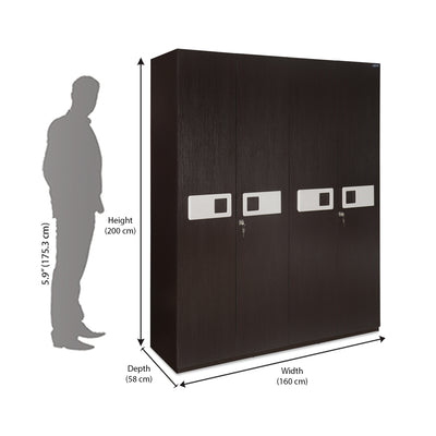 Nilkamal Ignis New 4 Door Wardrobe - Dark Brown