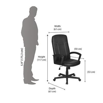 Nilkamal Mayor High Back Office Chair - Black/Black