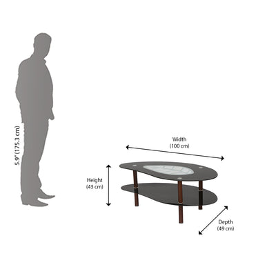 Nilkamal Stuart Center Table (Black/Walnut)