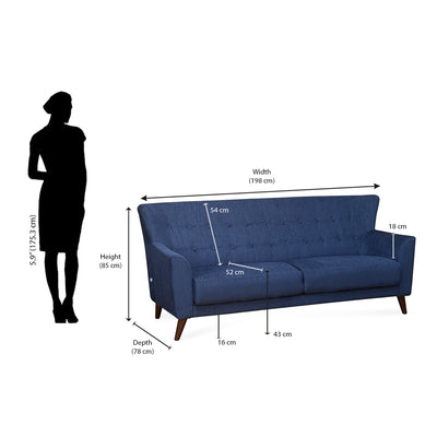 Nilkamal Jamaica 3 Seater Sofa (Blue)
