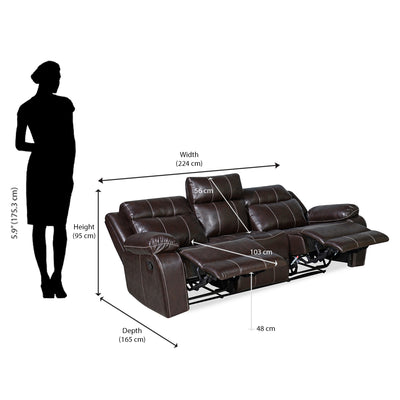Nilkamal Commander 3 Seater PVC Recliner Sofa (Brown)