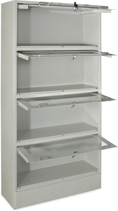 Nilkamal Glaze Book Case with 4 Compartment (Grey)