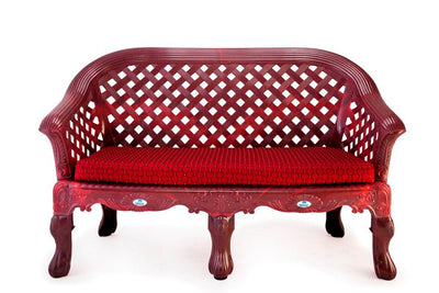 Nilkamal Luxura Sofa Set (Maroon Checks/Rose Wood)