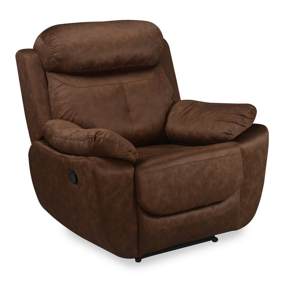 Nilkamal Veraton 1 Seater Recliner Fabric Sofa (Dark Brown)