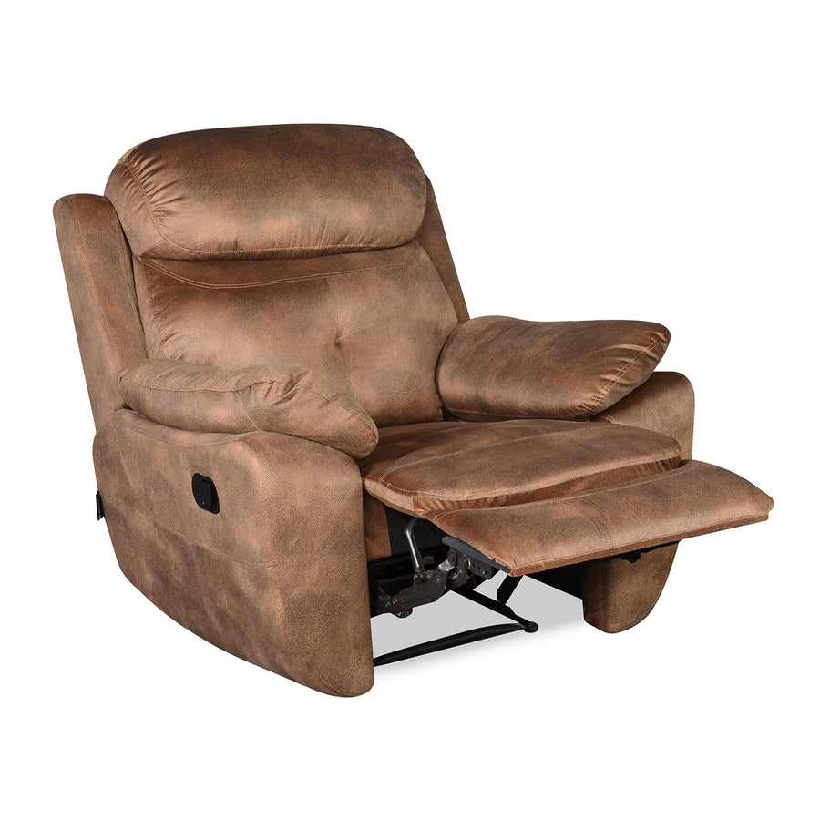 Nilkamal Veraton 1 Seater Recliner Fabric Sofa (Light Brown)