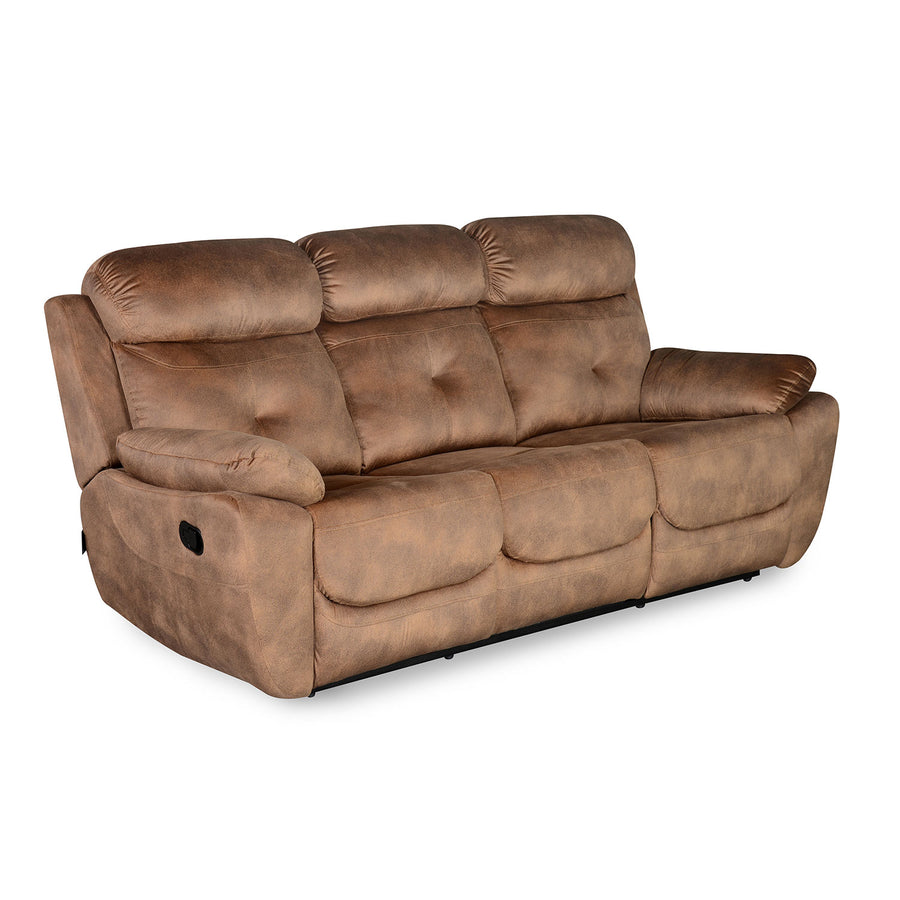 Nilkamal Veraton 3 Seater Recliner Fabric Sofa (Light Brown)