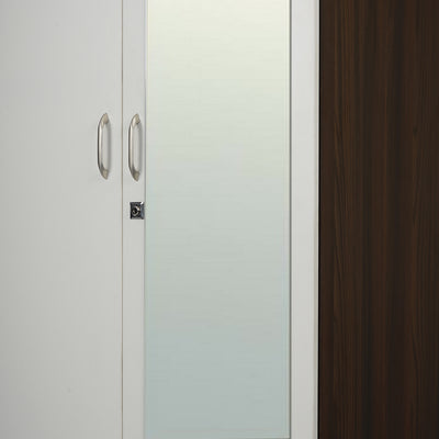 Nilkamal Mozart 4 Door Mirror Wardrobe (Walnut/White)