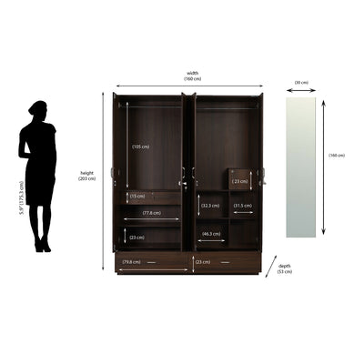 Nilkamal Mozart 4 Door Mirror Wardrobe (Walnut)