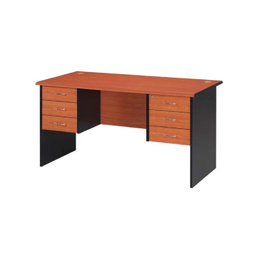 Nilkamal Madison Office Table (Cherry/Black)