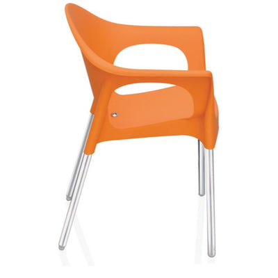 Nilkamal Novella 09 Stainless Steel Chair (Orange)