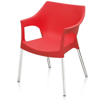 Nilkamal Novella 10 Stainless Steel Chair (Bright Red)