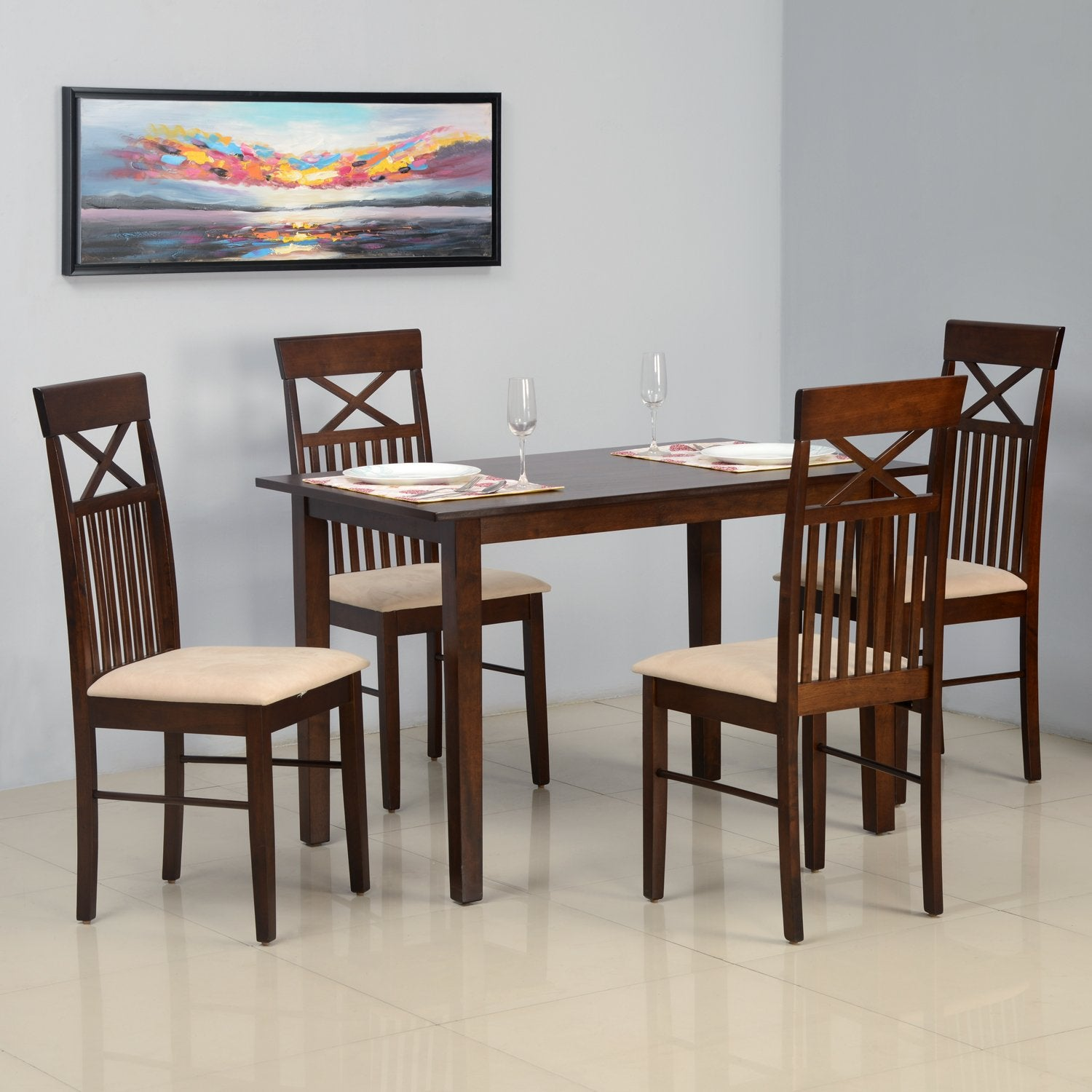 huge discount ae658 39f5f Nilkamal Paula 4 Seater Dining Table Set