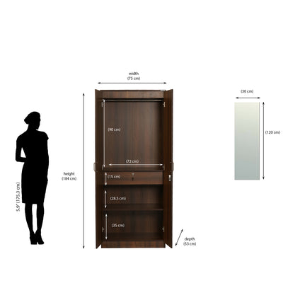 Nilkamal Riva 2 Door Mirror Wardrobe (Walnut)